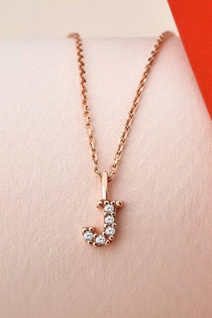 jelux silver Zirkon Taşlı Rose Minimal Harf Kolye J