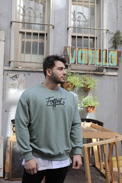 FAST EFFECT WEAR Erkek Haki Önü Nakış Baskılı Oversize Sweatshirt
