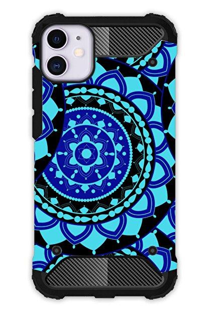 """Cekuonline Iphone 12 Mini 5.4"""" Kılıf Desenli Antishock Crash Kapak - Mavi Mandala"""