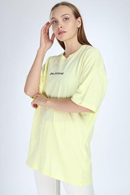 Millionaire Kadın Sarı Stay Antisocial Baskılı Oversize T-shirt