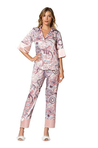 MOONGIRL Kadın Renkli Saten Pijama Takım