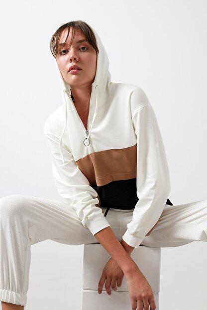 Lela Pamuklu Renk Bloklu Fermuarlı Kapüşon Yaka Sweat Kadın Sweat 5863813