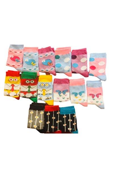 Özge Kız Çocuk Renkli 12'li Karışık Çorap