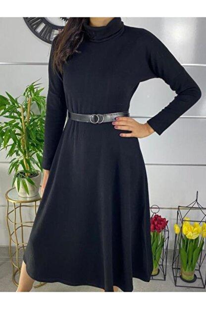 ELBİSENN Kadın Siyah Boğazlı Midi Boy Kemerli Triko Elbise