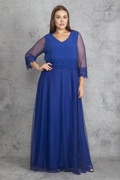 Şans Kadın Saks Dantel Ve Tül Deyatlı Astarlı Simli Abiye Elbise 65N19350