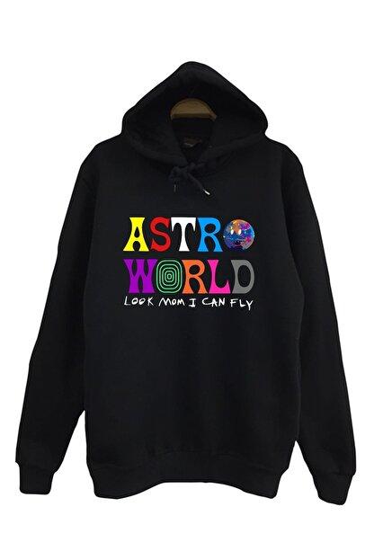 The Fame Unisex Siyah Astroworld Look Mom I Can Fly Travis Scott Kapüşonlu Sweatshirt