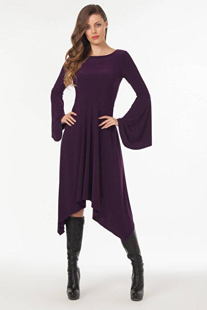 Laranor Kadın Mürdüm Asimetrik Kesim Elbise 19L6477
