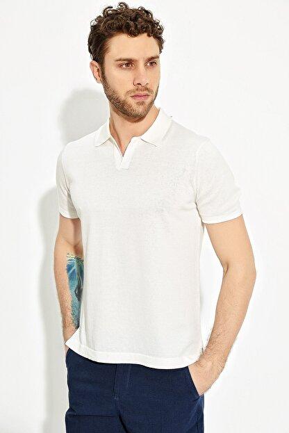 CHUBA Ekru Erkek Polo Yaka Yırtmaçlı Sportriko T-shirt