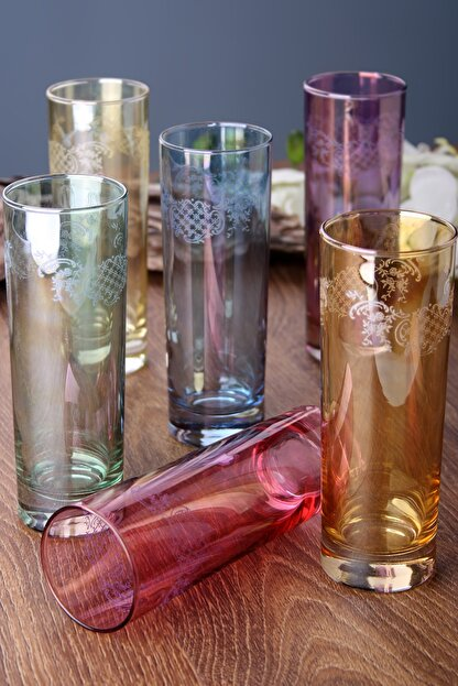 FUMO Leaves Renkli 6'Lı Meşrubat Bardağı Seti Fu-209205