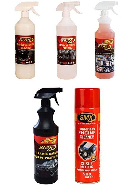SMX 5'li Araç Bakım Seti Tampon Lastik,Torpido Parlatıcı Seramik Hızlı Cila Genel Susuz Temizleme Spreyi