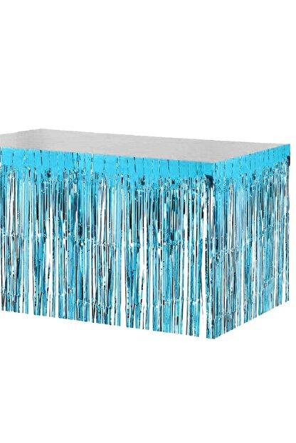 Huzur Party Store Metalik Folyo Püskül Mavi Masa Eteği Masa Püskülü Masa Kenarlığı Masa Kenar Eteği