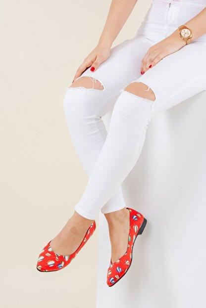 Fox Shoes Kırmızı Kadın Babet F726803204