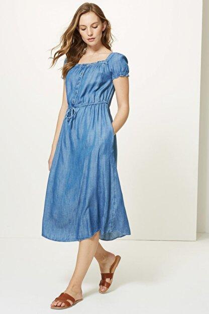 Marks & Spencer Kadın Mavi Yakası Düğmeli Midi Elbise T42005609