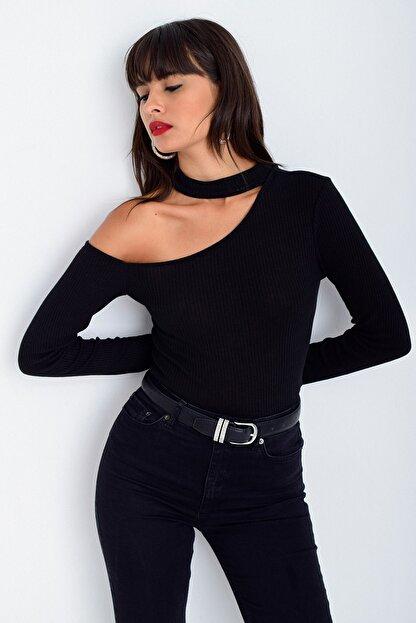 Cool & Sexy Kadın Siyah Tek Omuz Bluz CG53