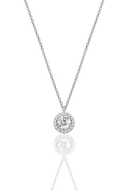 Söğütlü Silver Kadın Gümüş  Pırlanta Montürlü Tek Taş Kolye SGTL9906