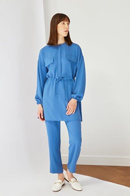 Trendyol Modest Mavi Cep Detaylı Tunik Pantolon Kuşak Detaylı Alt-Üst Takım TCTSS21AU0238