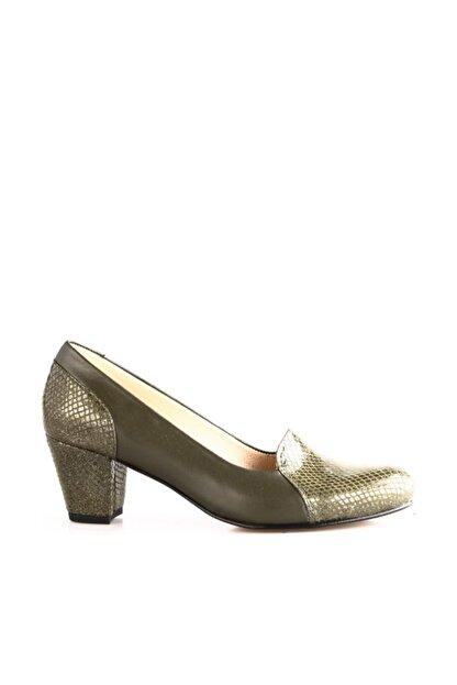 Dgn Yeşil Petek Yeşil Kadın Klasik Topuklu Ayakkabı 258-148