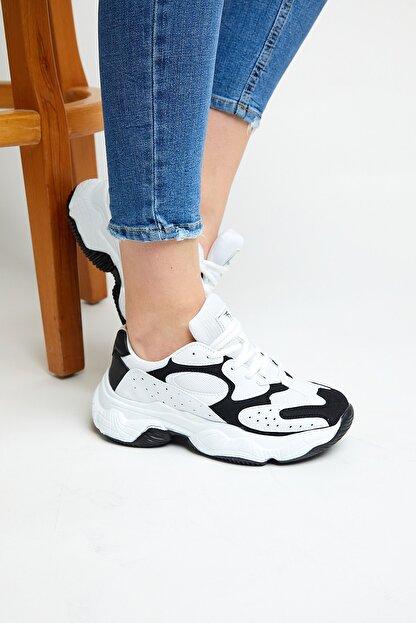 Tonny Black Kadın Beyaz Siyah  Spor Ayakkabı Tb284
