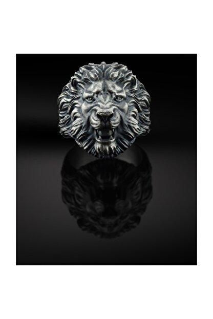 Bysilverstone Aslan Kafası Erkek 3 Boyutlu Gümüş Yüzük