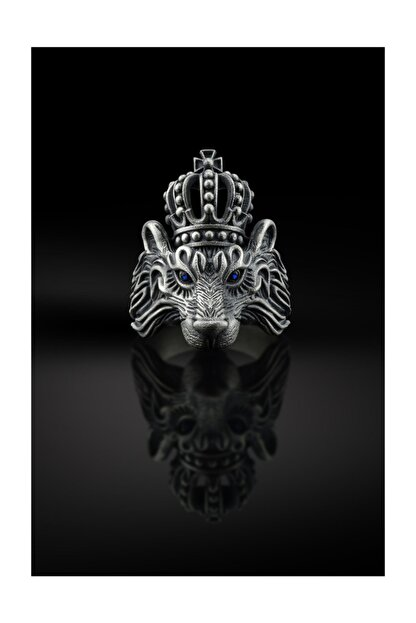 Bysilverstone 3 Boyutlu Aslan Kral Erkek Gümüş Yüzük
