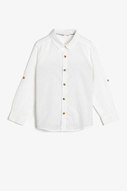 Koton Basic Uzun Ve Katlanabilir Kollu Klasik Yaka Gömlek