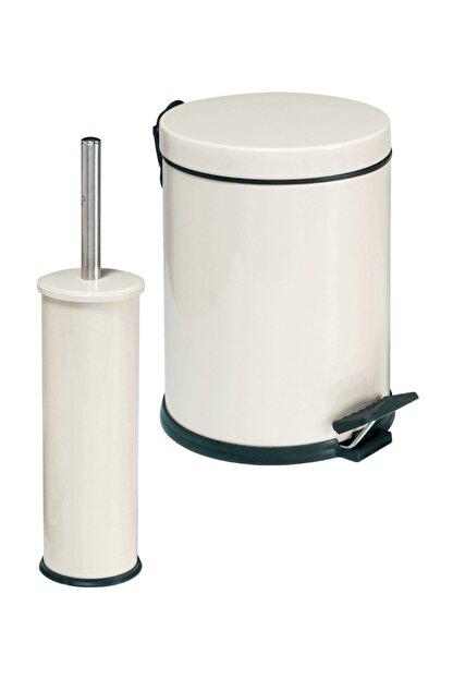 Foreca 2 Li Çöp Kovası Banyo Seti Krem