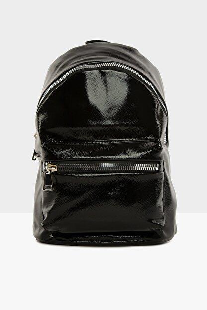 Bagmori Parlak Siyah Kadın Kalın Fermuarlı Dokulu Sırt çantası  M000004125