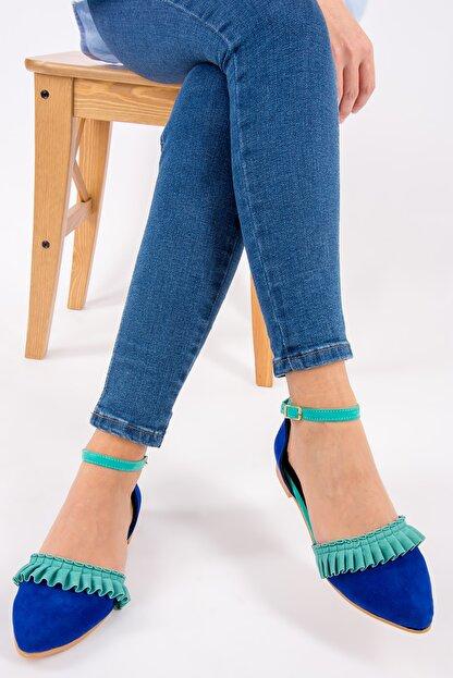 Fox Shoes Saks Mavi/Su Yeşili Kadın Babet H726685002