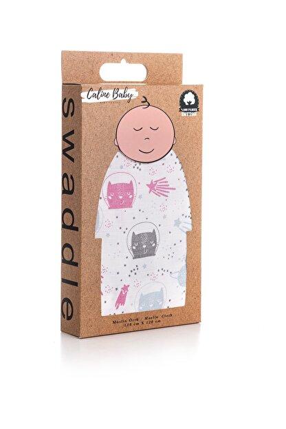 Caline Baby Müslin Bezi Örtü Kedi Desen - Pembe 120x120 Cm + 4 Adet Ağız Mendili