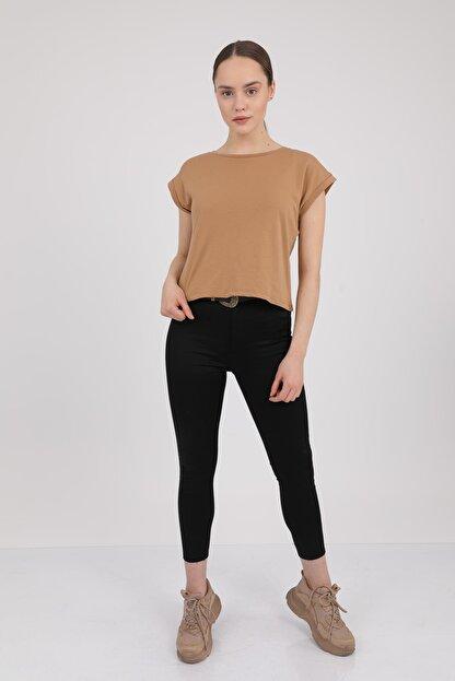MD trend Kadın Sütlü Kahve Bisiklet Yaka Kısa Kol T-Shirt Mdt3286