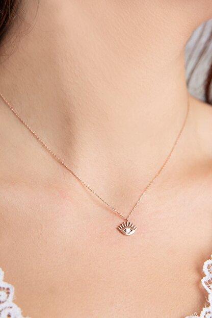 Papatya Silver 925 Ayar Rose Altın Kaplama Gümüş Tek Taş Göz Kolye