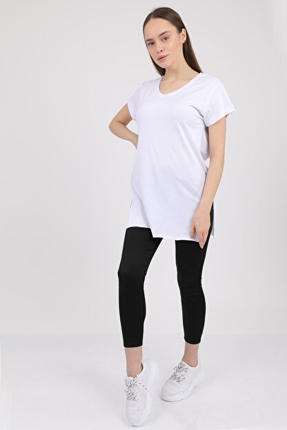 MD trend Kadın Beyaz V Yaka Yırtmaçlı Kısa Kol Pamuklu T-Shirt Mdt3025