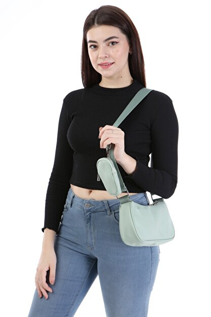 ICONE BAG Icone Kadın Saten Suni Cüzdan Aksesuarlı Mini Askılı Çanta Su Yeşili Renk