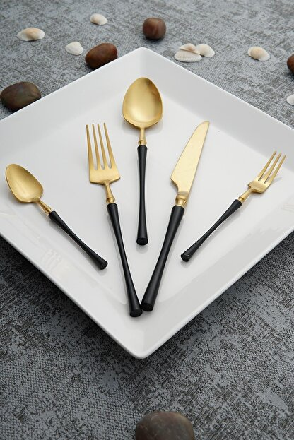 ACAR Aria Gold Siyah Paslanmaz Çelik 30 Parça Çatal Kaşık Bıçak Takımı