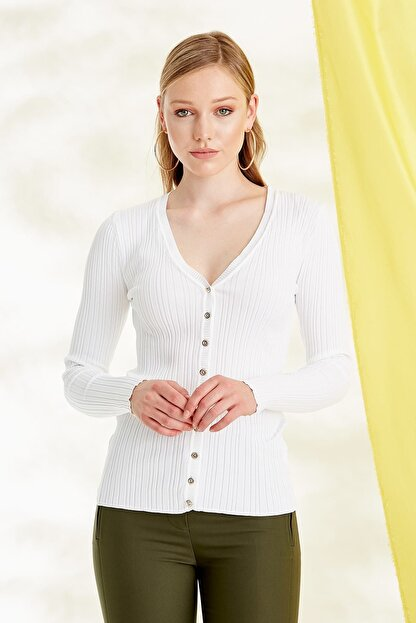 Journey Kadın Beyaz Triko Hırka 19YTRK702