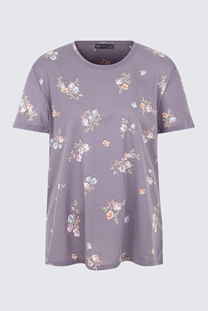 Marks & Spencer Kadın Lacivert Yuvarlak Yaka Kısa Kollu T-shirt T41001269X