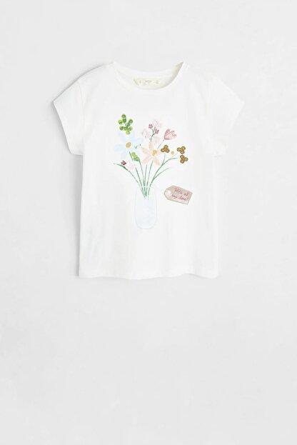 Mango Kırık Beyaz Kız Çocuk Desenli Pamuklu Tişört 53031091