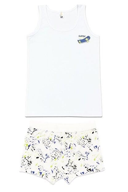 ÖZKAN underwear Erkek Çocuk Beyaz Desenli  İç Giyim Takım