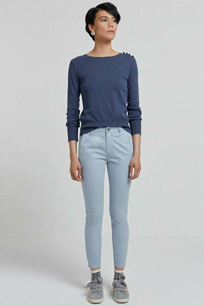 Yargıcı Kadın Buz Mavisi Cep Detaylı Pantolon 9KKPN3117X