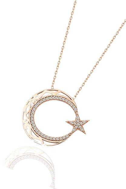 Söğütlü Silver Ayyıldız Modeli Rose Gümüş Kolye SGTL5707R