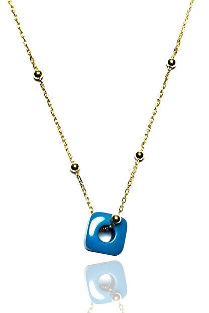 Midyat Gümüş Dünyası Kadın Altın Kaplama Nazar Boncuklu Top Zincirli Kolye  MGD2020907A