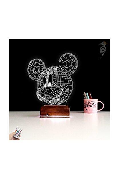 TahtaModa 3d Ilizyon Led Lamba Dekoratif Gece Lambası Çocuk Odası Mickey Fare Gece Lambası