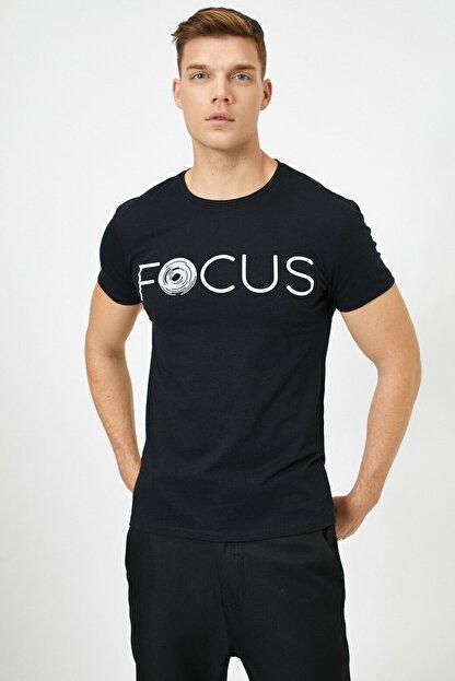 Koton Erkek Siyah Yazılı Baskılı T-Shirt
