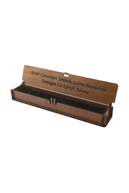 Tesbihane Özel Mesaj Yazılı Kahverengi Ahşap Hediye Tesbih Kutusu (m-5)
