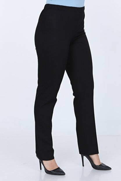 Gül Moda Büyük Beden Siyah Beli Lastikli Pantolon