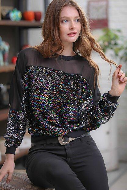 Chiccy Retro Omuzları Mesh Detaylı Mix Renkli Pul Payet Işlemeli Bluz