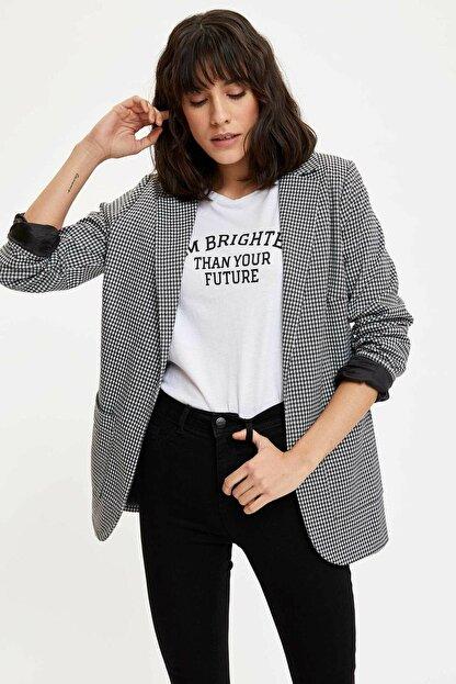 Defacto Kadın Siyah Ekose Blazer Ceket M8794AZ.20SP.BK27