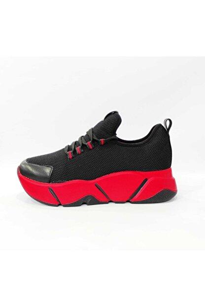 Mnz shoes Rsl Kalın Taban Triko Kumaş Çift Bağcıklı Kadın Günlük Spor Ayakkabı