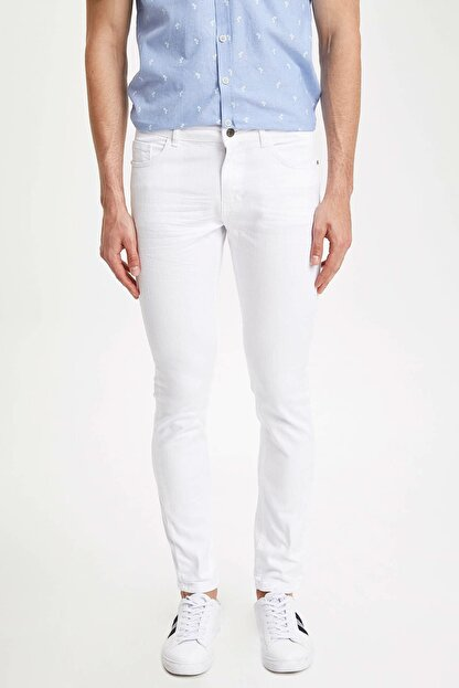 Defacto Carlo Skinny Fit Düşük Bel Dar Paça Beyaz Jean Pantolon