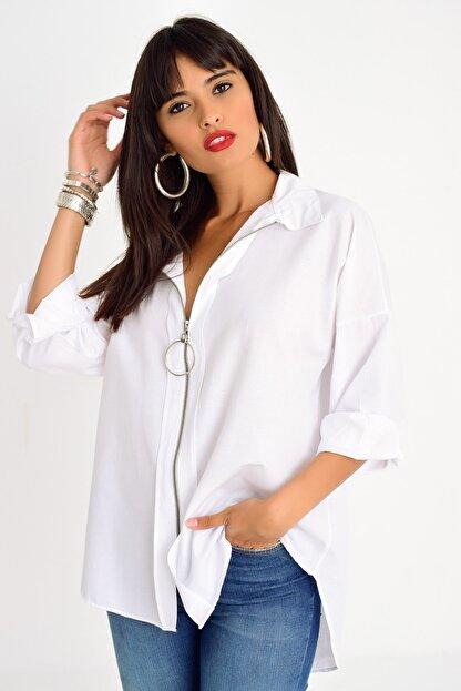 Cool & Sexy Kadın Beyaz Fermuarlı Gömlek DY25580